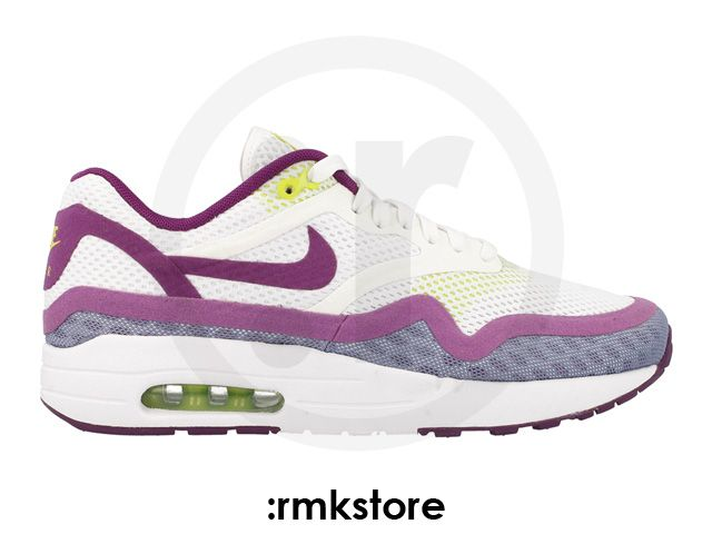 Womens Nike Air Max 1 BR Breeze White Bright Grape Volt Nike Air Max Low Price