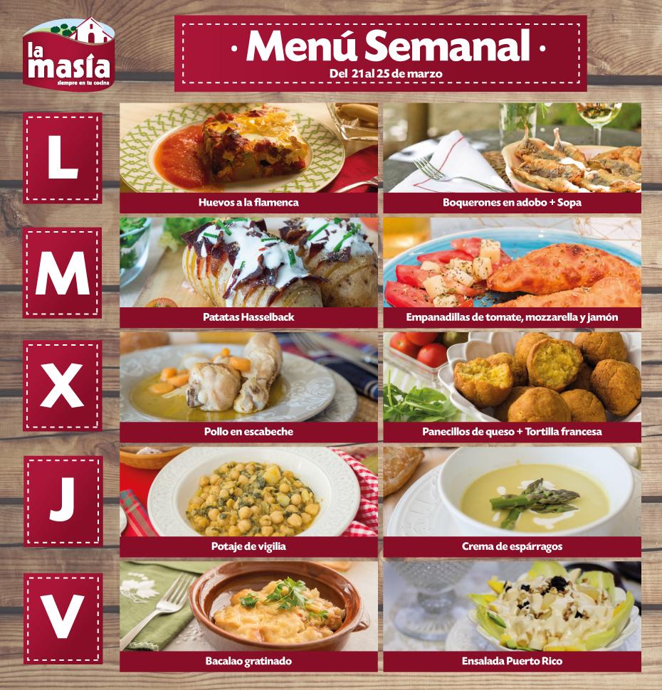 Recetas Cocina Mediterranea | Menu Semanal De Recetas Lamasia Del 21 Al 25 De Marzo Comida