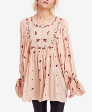 Free People Kiss From a Rose Embroidered Tunic - Orange M
