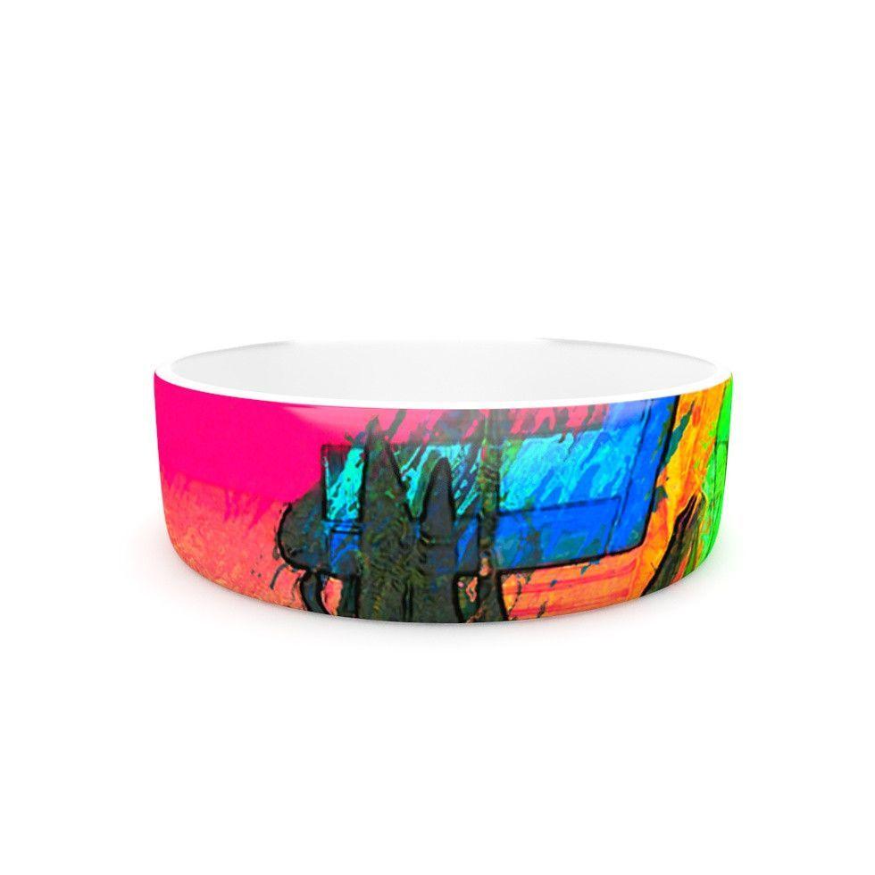 "Oriana Cordero ""Days of Summer"" Rainbow Abstract Pet Bowl"