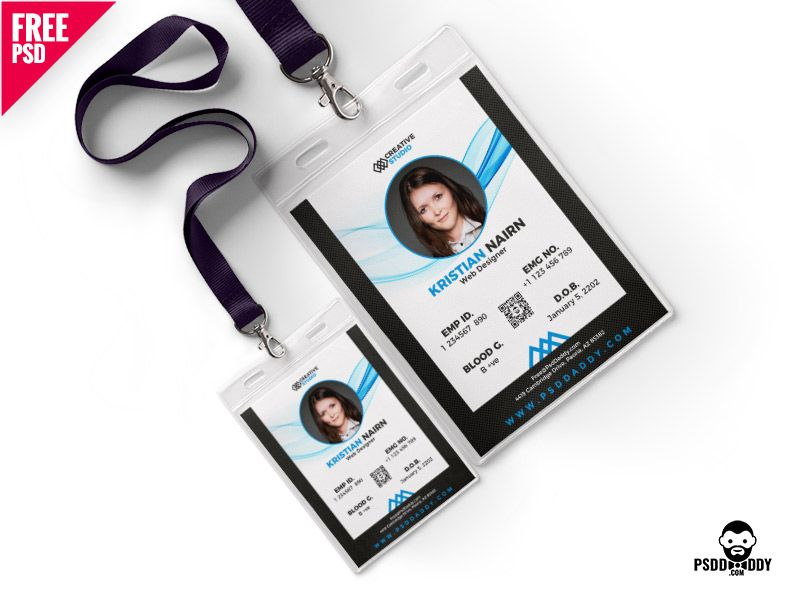 Office Photo Identity Card Template Psd Id Card Template Free Printable Business Cards Colorful Business Card