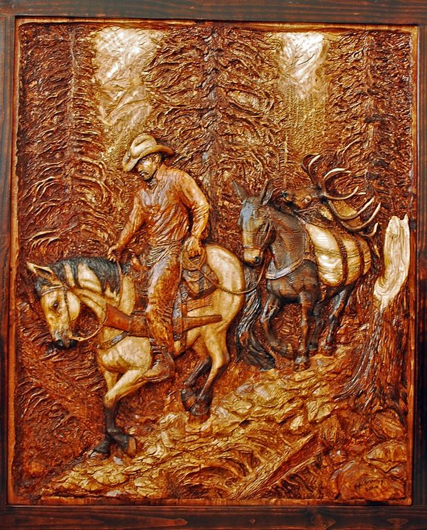 Relief carving custom wood carvings western art and