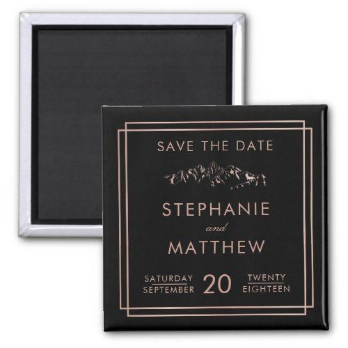 Stylish Black Rose Gold Mountain Save The Date Magnet
