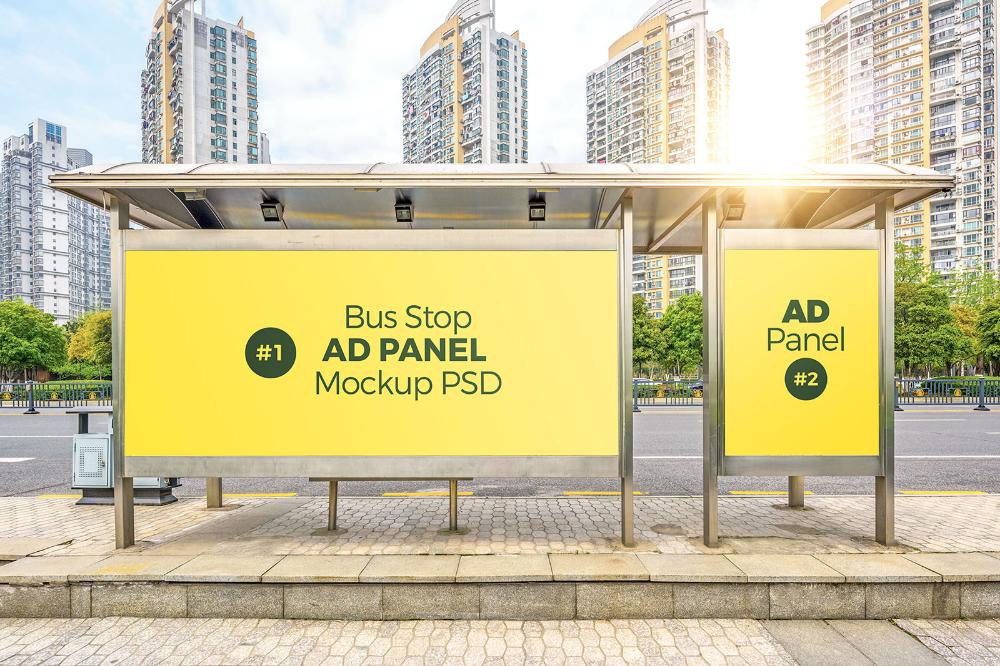 Free Bus Stop Shelter Advertising Panels Mockup Psd Good Mockups Bus Stop Advertising Mockup