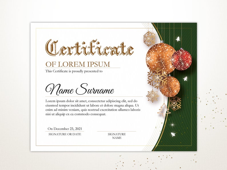 Editable Holiday Certificate Template Printable Christmas Etsy Certificate Templates Christmas Printables Printable Certificates