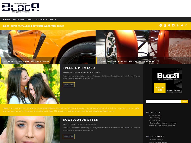 Download Free BlogR WordPress theme Free blog, WordPress the