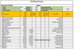 Time And Action Calendar Format For Production Merchants Garment Industry Garment Manufacturing Day Plan