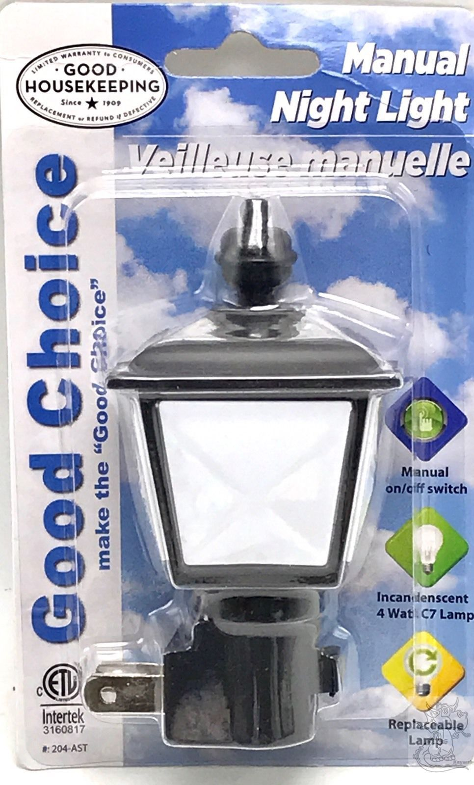 Night Light Lamp Cottage Shade Manual Off On Energy Efficient Standard Bulb  New