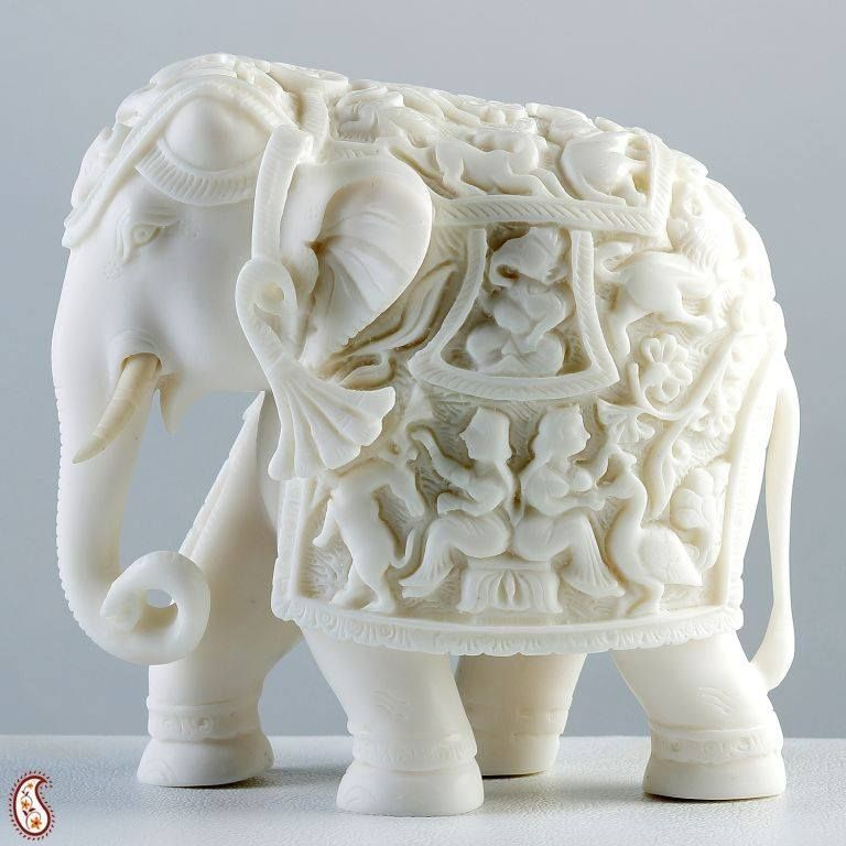 Sculpture Of Royal Elephant In Pure White Marble India Elephant Ornament Elephant Sculpture Elephant Decor