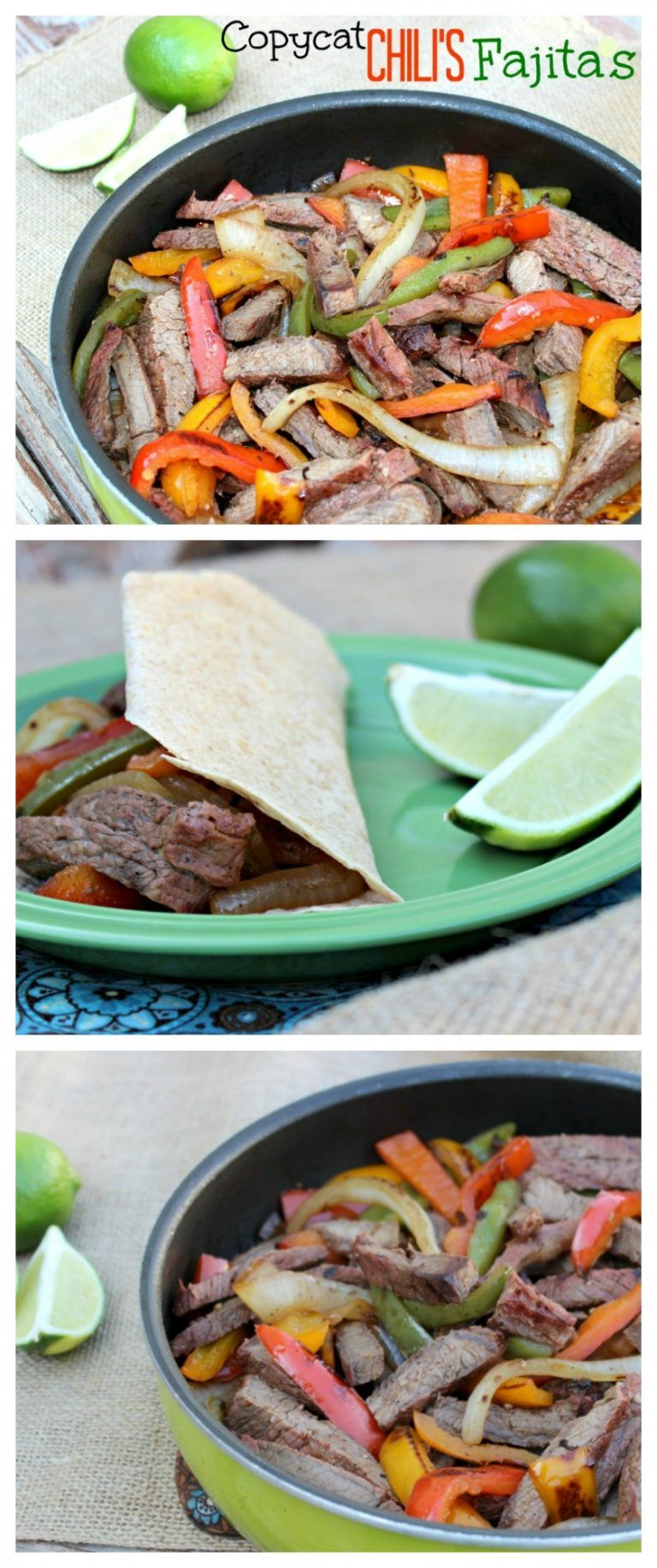 With this Copycat Chili's Steak Fajitas Recipe you can make your favorite Mexican restaurant meal at home! The secret is in the yummy marinade and cooking on the grill. #steakfajitarecipe