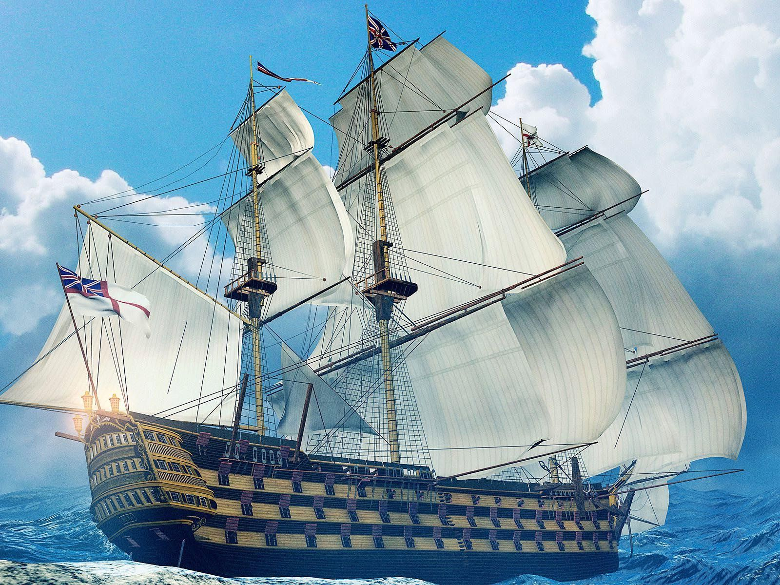 old sailing ship on the big waves of the blue ocean sail on
