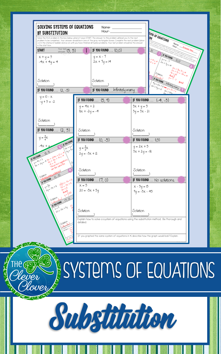 Workbooks substitution method worksheets : Systems of Equations by Substitution - Scavenger Hunt Worksheet ...