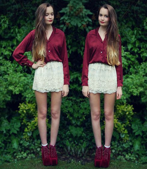 Lace and Red (by Imogen De Souza) http://lookbook.nu/look/3572339-Lace-and-Red