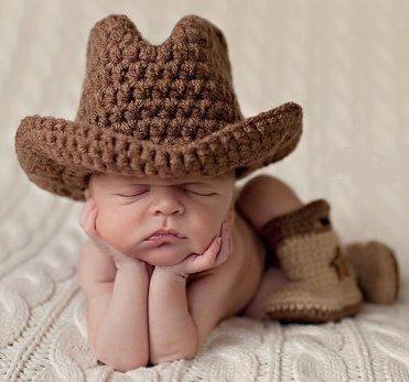 Baby Cool Cowboy Hut Jungen Kostüm Gestrickt Mütze Fotoshooting Fotografie
