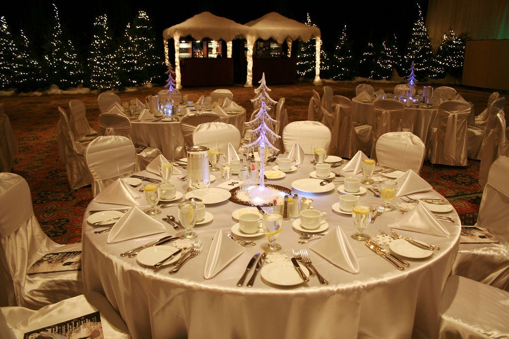 Holiday corporate event. White and gold