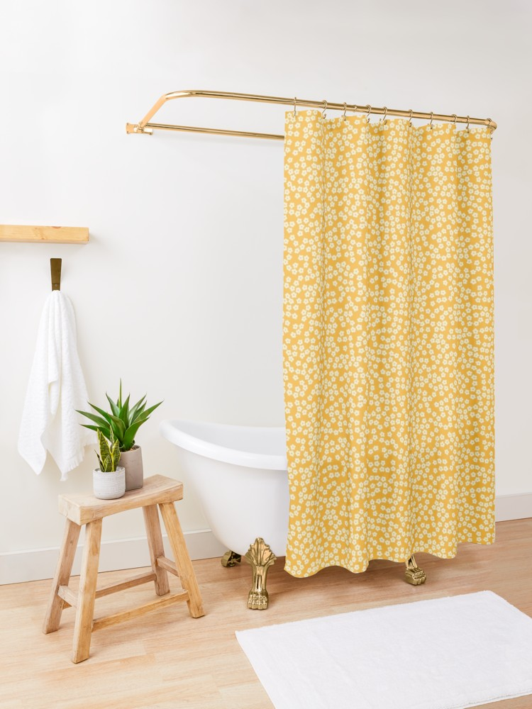 Ditsy Yellow Flowers Pattern Shower Curtain By Calislahn Green