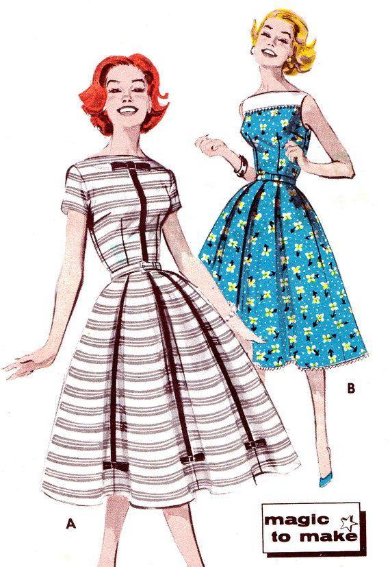 1950s Vintage Dress Pattern Butterick 9602 Full Skirt Day