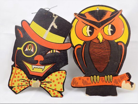 HE Luhrs Halloween Wall Decor, Black Cat, Perched Owl, Orange and