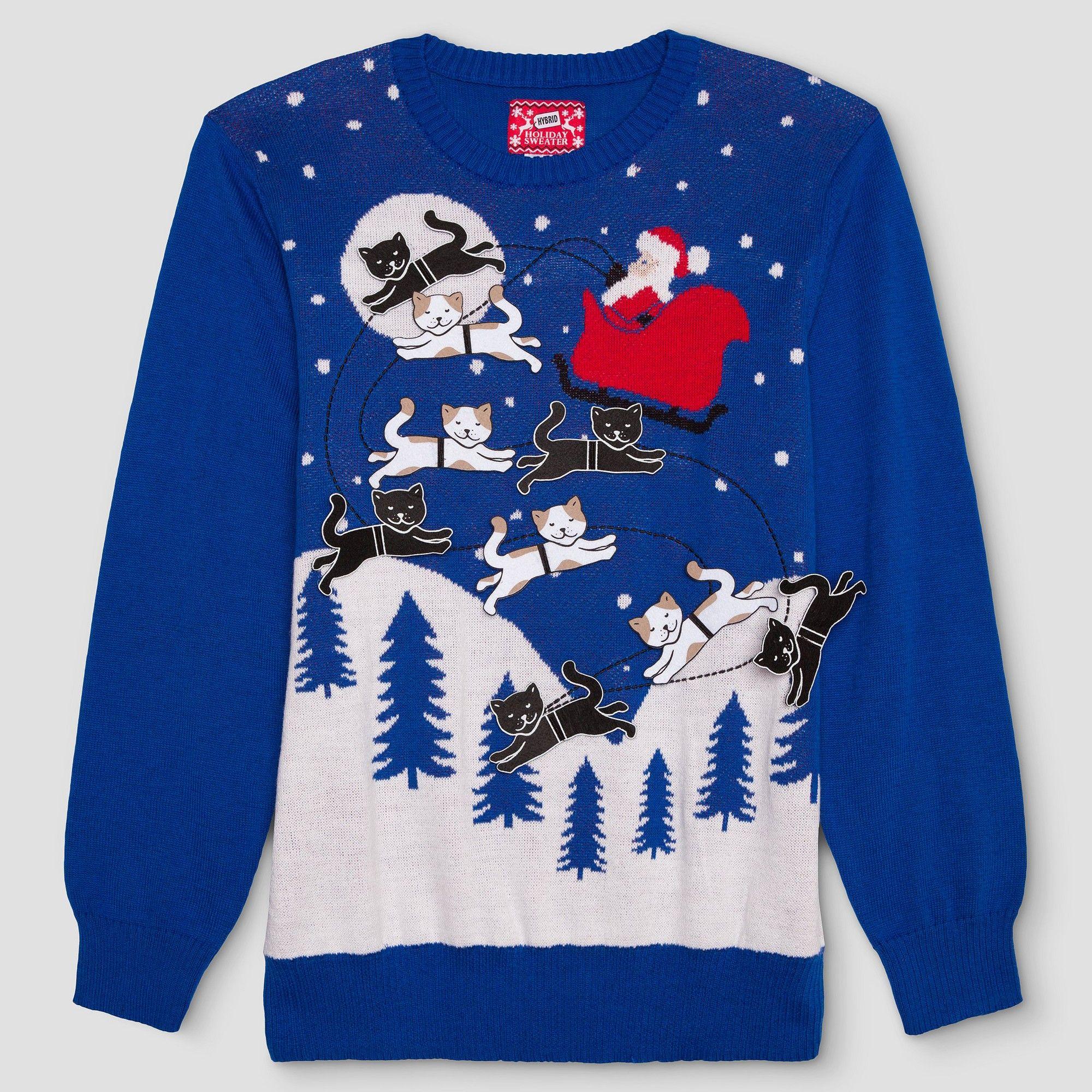 Mens Big Tall Ugly Holiday Santa With Felt Cats Sweater Blue