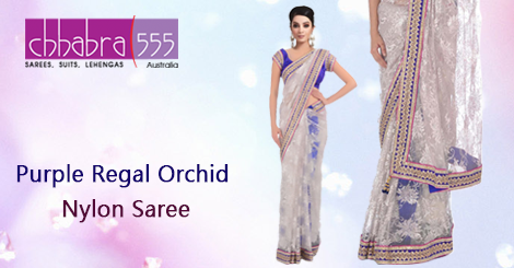 Buy Purple Regal Orchid Nylon Saree from ‪‎Chhabra555‬ in ‪Australia‬ @ $686.95 AUD and get ‪‎free‬ ‪shipping‬ for orders of $75 and more.