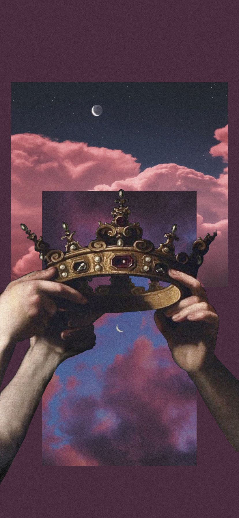 Aethetic iPhone wallpaper 👑                                                                               #aesthetic #wallpaper #iphone #purple #crown #hands #sky #aestheticwallpaper #aestheticvintage #freetoedit
