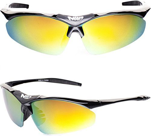 cd8d8ac1b83 NWolf Mens Designer Fashion Polarized Sports Sunglasses for Men Women with  5 Interchangeable Lenses for Cycling