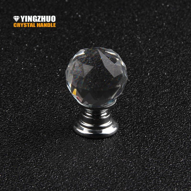 1PCS 20mm Flower Shape Crystal Glass Pull Handle Cabinet Drawer Cupboard Knob