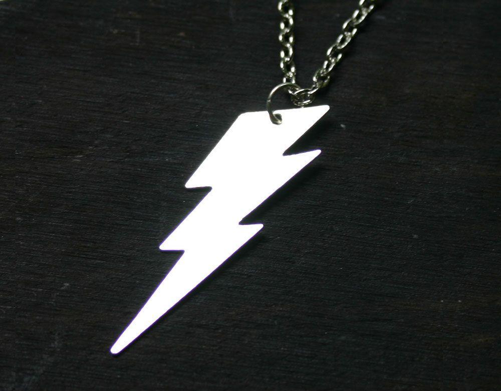 Ziggy Stardust Lightning Bolt Necklace. $18.00, via Etsy.