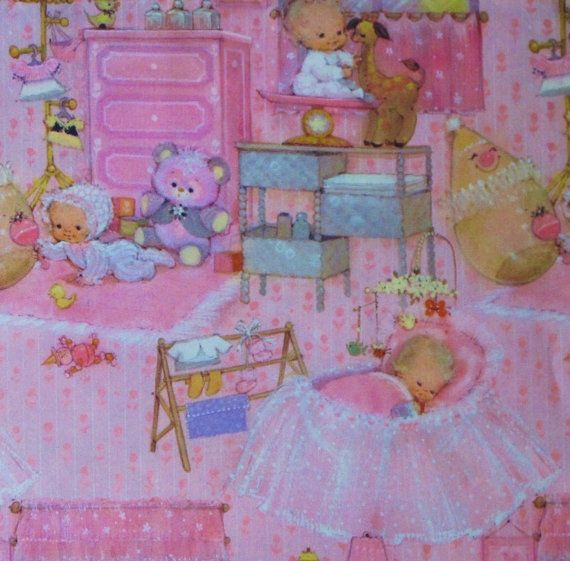 Vintage Hallmark BABY Gift Wrap Wrapping Paper GIRL 1960s