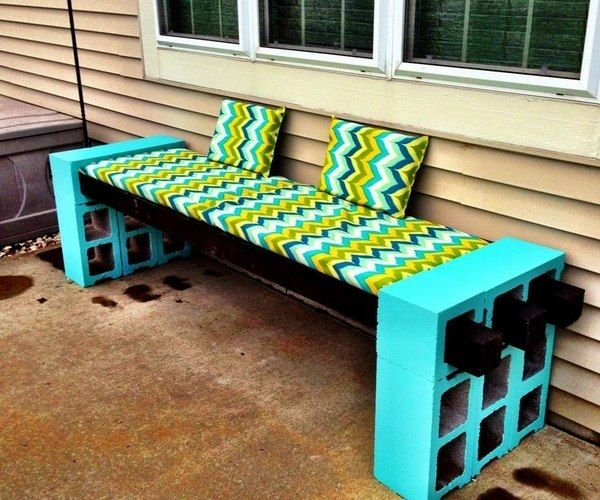 cinderblock furniture. Wonderful Furniture GardenfurnitureideasDIYcinderblockbenchblue Paint To Cinderblock Furniture B