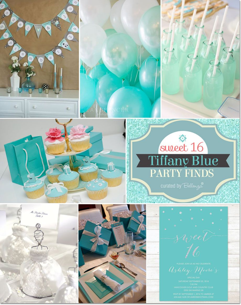 Tiffany blue themed sweet 16 party ideas baby shower for 16th birthday party decoration ideas