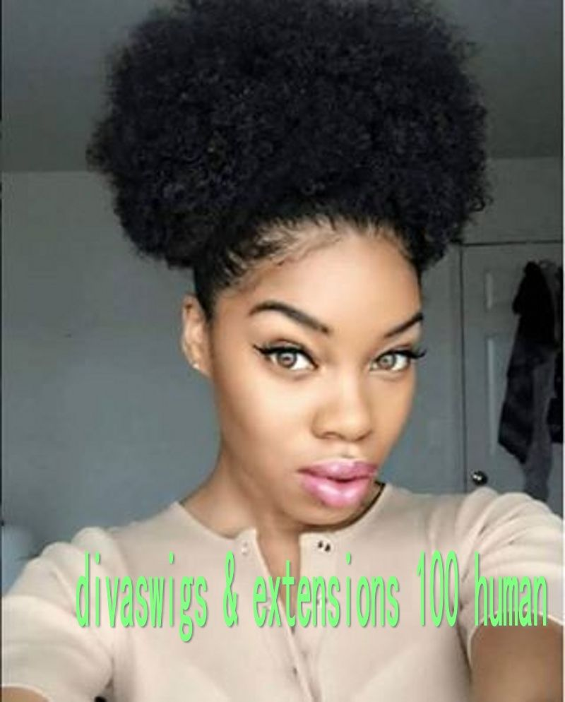 Human Afro Puff Ponytail Short High Ponytail Afro Natural Curly
