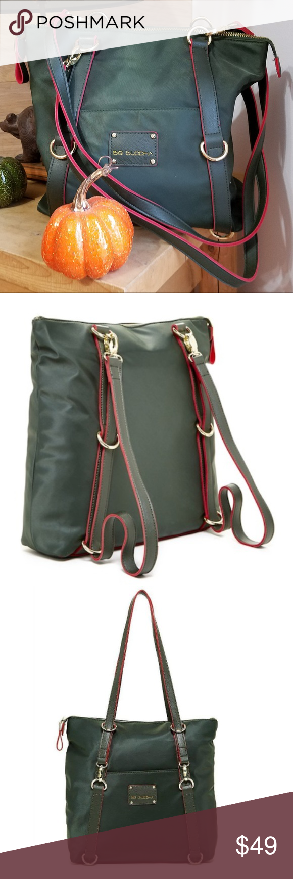 7587aaf9bcf1 Big Buddha Luke Convertible Bag Backpack Tote-NWOT NEW WITHOUT TAGS ...  Sharp forest green