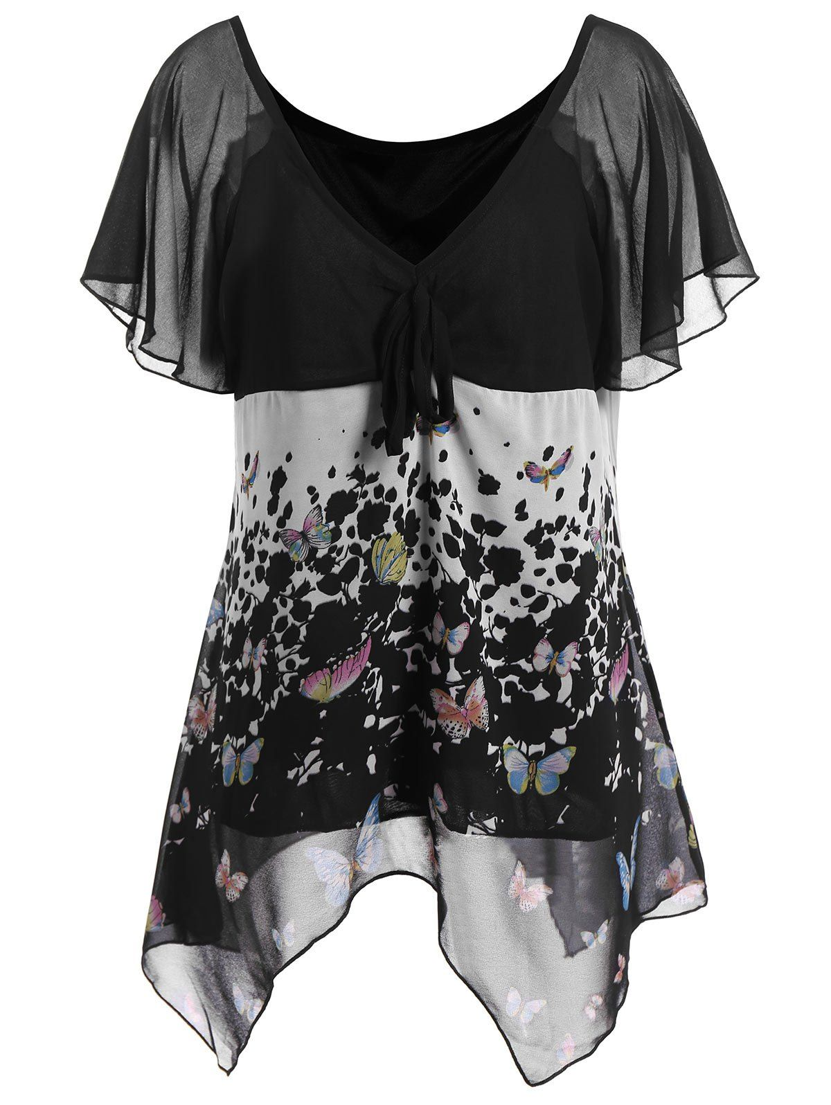 1122d59fdea57f Butterfly Print Chiffon Plus Size Top - BLACK 2XL