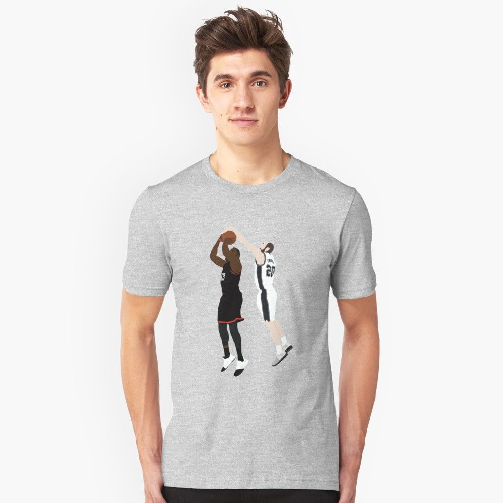0e08008ac16 Manu Ginobili Block On James Harden Unisex T-Shirt Front
