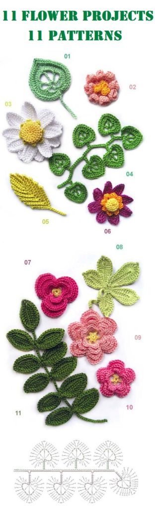 11 Flower Project – 11 Chart Patterns   فساتين   Pinterest