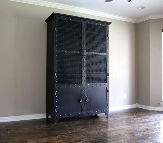 Modern Industrial Armoire Steel Locker Closet Vintage Etsy Industrial Kitchen Design Modern Industrial Furniture Locker Storage