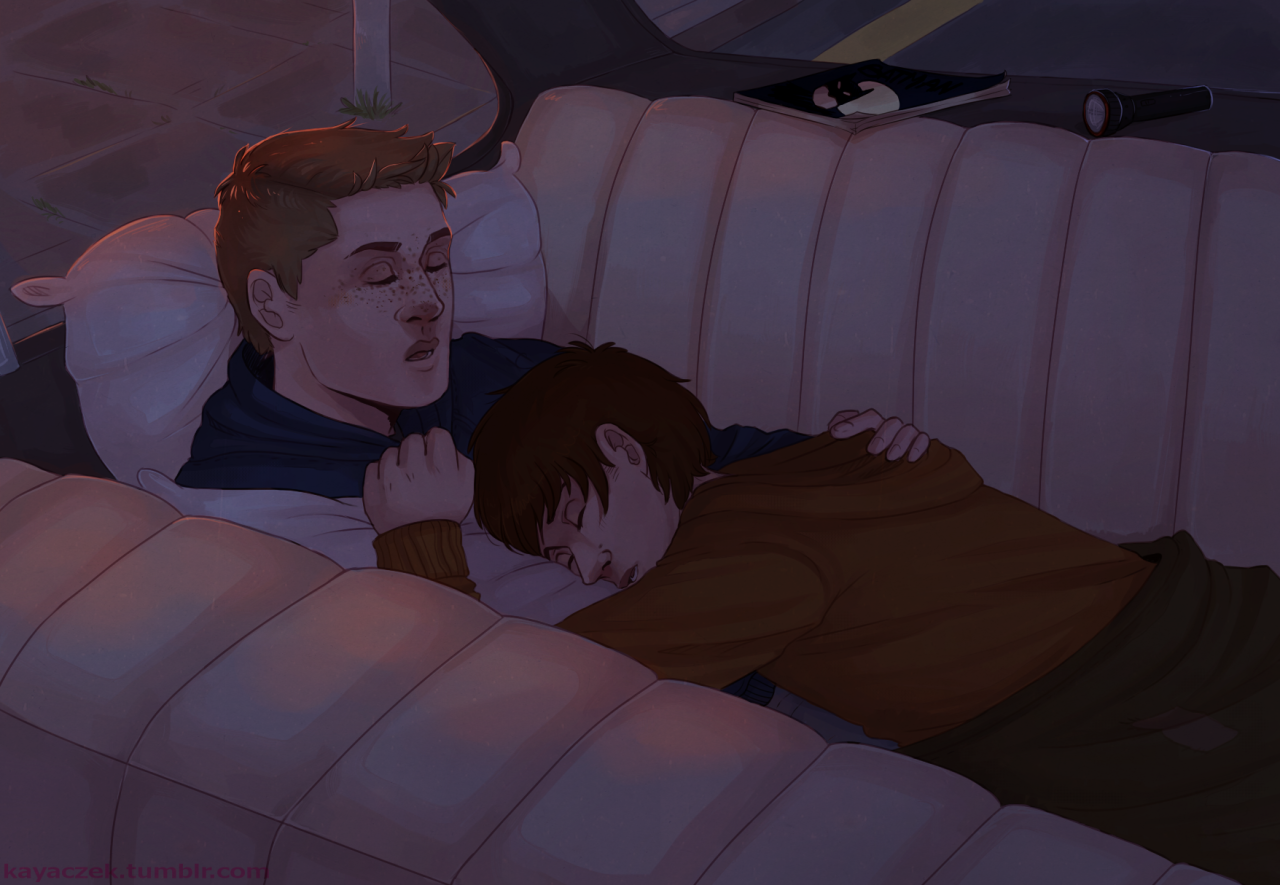 so I have this headcanon: the boys often had to snuggle up and sleep on the impala's backseat 'cause John liked to drive during the night and he didn't want to waste time crashing at the motel if it wasn't necessary. And somehow Sam always ended up sleeping atop Dean but neither of them seemed to mind