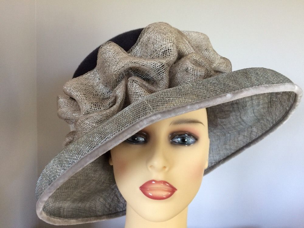 Ladies Formal Occasion Wedding Races Mother Bride Hat Black Grey By Harrods 6a9fc6b4501