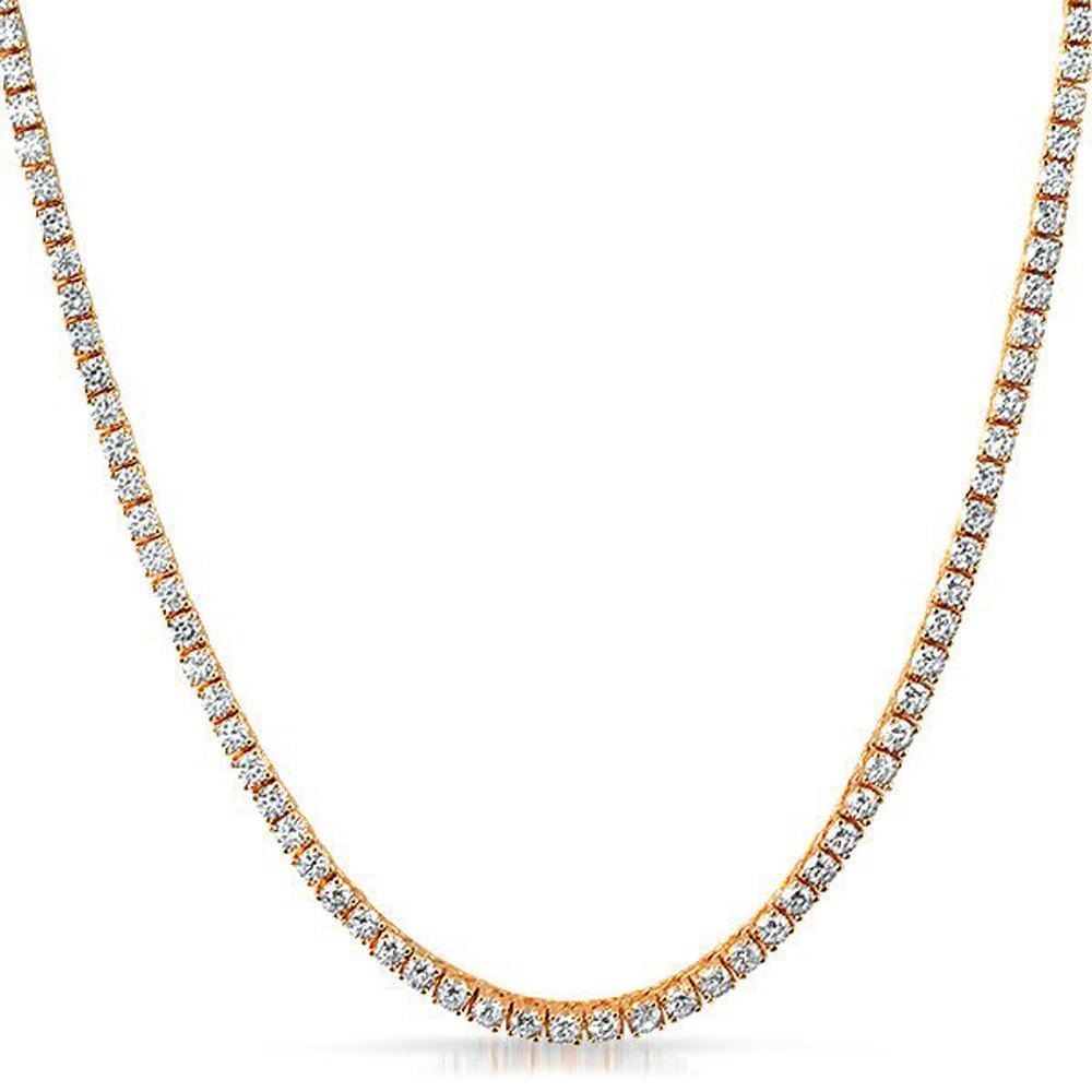 925 Sterling Silver 2 25mm Cz Tennis Chain Rose Gold 925 Sterling Silver Bling Bling Chains Silver Bling