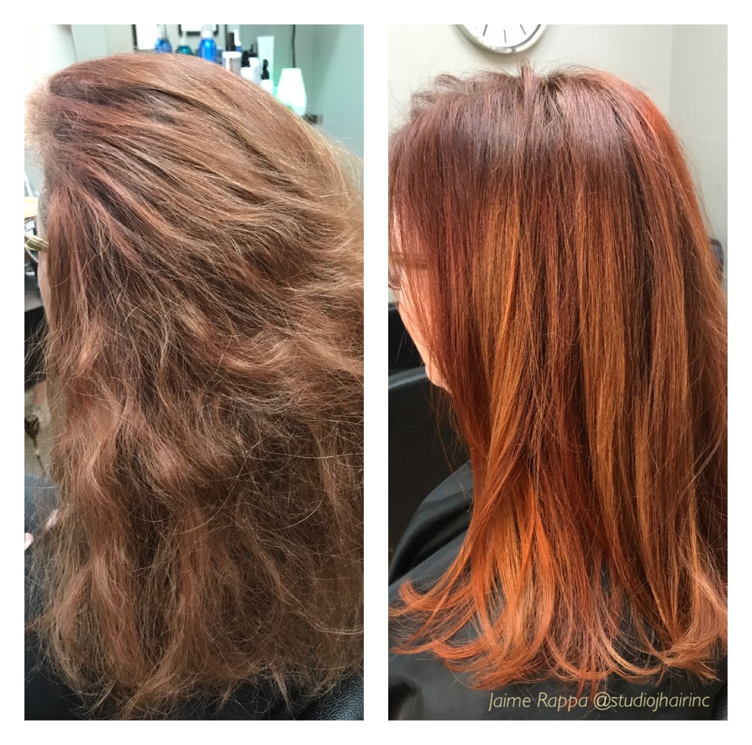 Beforeafter red hair using different tones wella color
