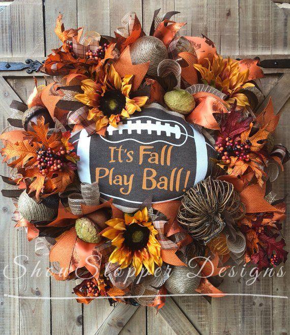 Fall Play Ball Wreath,fall football wreath,fall door wreath,autumn door wreath,football wreath,football door wreath,fall welcome wreath