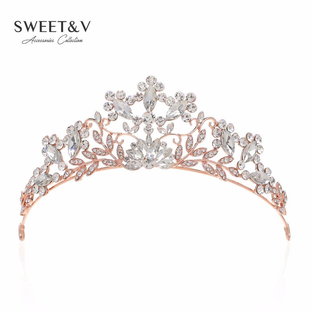 Wedding Bridal Silver Pt Flower Crystal Pearl Tiara Rhinestone Crown Sweet Prom