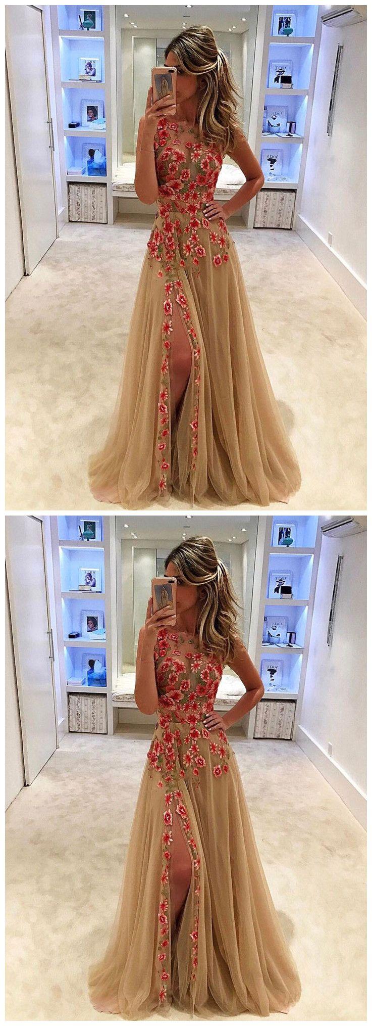 f49d941d20 Unique Champagne Tulle Applique Long Prom Dress