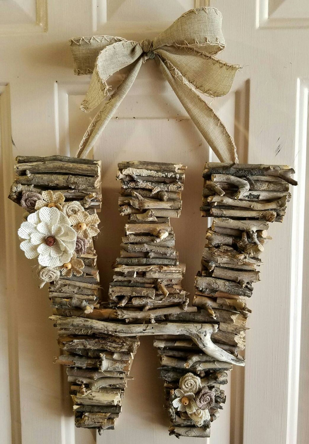 Initial Door Hanger, Rustic, Door Hanger, Monogram, Birthday, Home Decor, Bridal Shower, Wood Anniversary, Burlap, Photo Prop, Woodland by CreativelyCraftyFind on Etsy