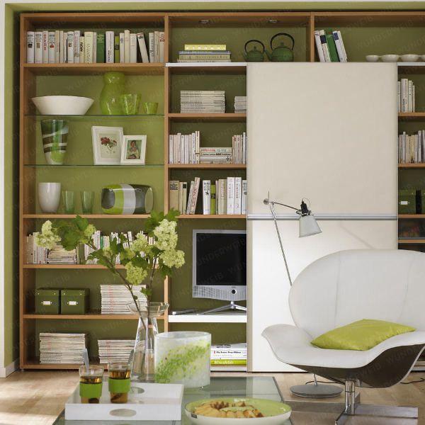 Die Wohlfühlfarbe Grün - 6_Schrankwand-gruen4 Wohnideen - wandgestaltung wohnzimmer grun