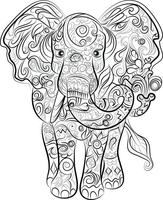 ausmalbilder f erwachsene elefant  tiffanylovesbooks