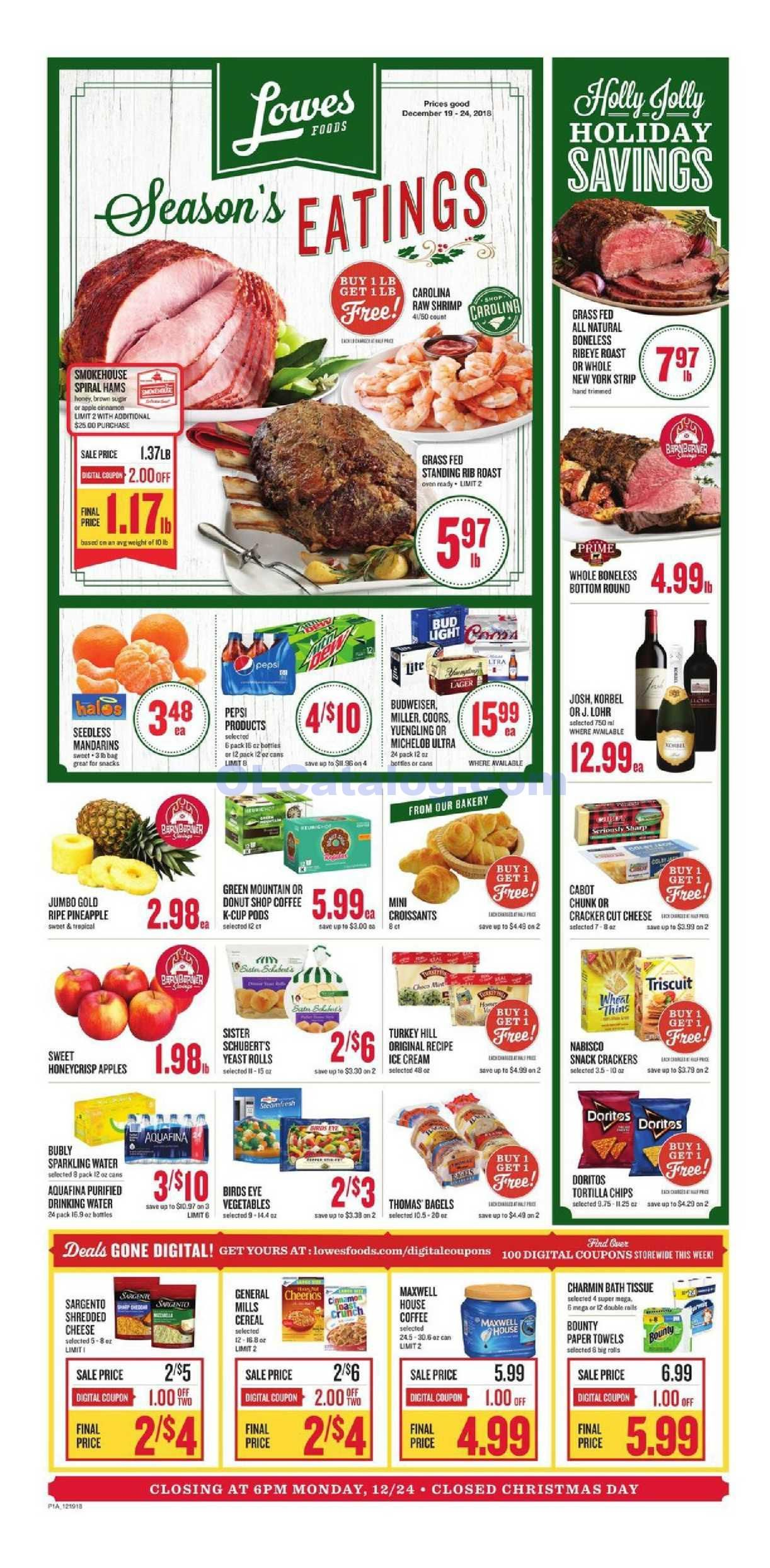 Lowes foods Weekly Ad December 19 25, 2018. View the