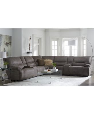 Super Felyx 7 Pc Fabric Sectional Sofa With 3 Power Recliners Bralicious Painted Fabric Chair Ideas Braliciousco