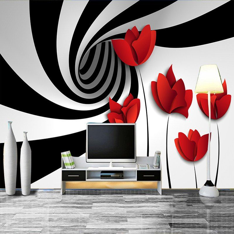 Nach Wandbild Wand Papier Schwarz Und Weiss Gestreiften Blumen Moderne 3d Abstrakte Geometrie Wandmalerei Ideen Wohnzimmer Tapeten Wandbilder Wandmalerei Ideen